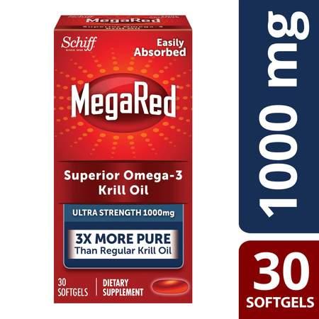MegaRed Ultra Strength Omega-3 Krill Oil 1000mg Softgels 30 Ct